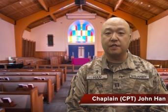 A virtual chapel service with Chaplain (Capt.) John Han