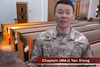 A virtual chapel service with Chaplain (Maj.) Yan Xiong