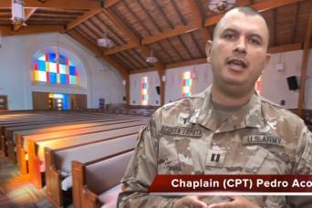 A virtual chapel service with Chaplain (Capt.) Pedro Acosta-Zapata