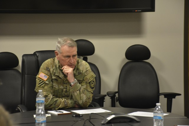 Gen. John M. Murray, commanding general of Army Futures Command, talks with journalists during a media round table, April 30, 2020, following a successful test-fire of the Army's precision strike missile.
