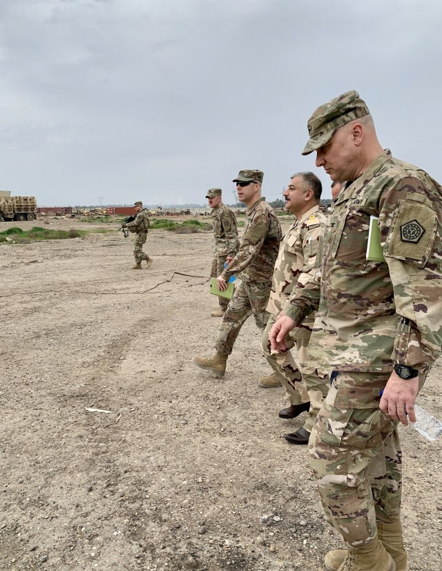 U.S. Army Brig. Gen. Howard Geck, commanding general, 103rd Expeditionary Sustainment Command, visited Iraqi Army Brig. Gen. Mae'n, Iraqi Army National Western Track Repair Facility commander, at Camp Taji, Iraq, Feb. 24, 2020.  Geck also toured the General Dynamics Land Systems facility where they conduct maintenance operations on the M1A1 Main Battle Tank and the M88 Recovery Vehicle.   Accompanying Geck was Col. Gerald Newman, 108th Sustainment Brigade commander, Task Force Lincoln, Team Blackhawks, Illinois Army National Guard, who are executing the logistics advise, assist, and enable mission under the 1st Theater Sustainment Command supporting Combined Joint Task Force - Operation Inherent Resolve to continue building the sustainment capability of the Iraqi Security Forces. (U.S. Army National Guard photo by Capt. Richard Wharton)