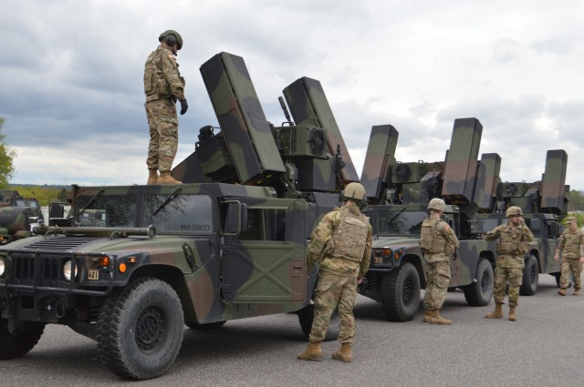 Air and missile defense crewmembers, 5th Battalion, 4th Air Defense Artillery Regiment, 10th Army Air & Missile Defense Command, ready their Avenger short-range air defense missile systems on Shipton Kaserne Apr. 30 prior to conducting training. The crews are maintaining their combat proficiency in a COVID-19 environment.