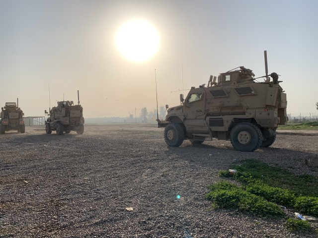 U.S. Army Soldiers of the 108th Sustainment Brigade, Task Force Lincoln, Team Blackhawks, Illinois National Guard, conduct movement to a range at Camp Taji, Iraq, Feb. 7, 2020. Soldiers completed training designed to increase their warfighting abilities. (U.S. Army National Guard photo by Capt. Richard Wharton)