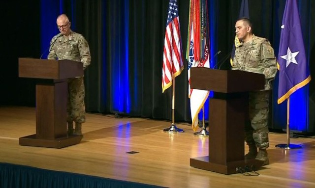 Maj. Gen. Thomas Solhjem, left, the chief of chaplains, and Sgt. Maj. Ralph Martinez, the corps' senior enlisted leader, speak during a virtual Chaplain Corps town hall from the Pentagon in Washington, D.C., May 5, 2020.