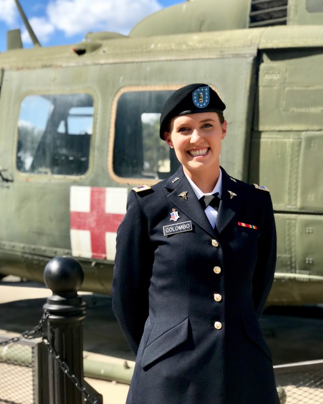 1st Lt. Gabriella Colombo, an Army Reserve physician assistant, pictured after her graduation from Basic Officer Leadership Course at Fort Sam Houston, Texas in 2018. Colombo is currently serving with an Army Reserve Urban Augmentation Medical Task Force at the Jacobi Hospital in New York City. Colombo is one of more than 1200 Army Reserve medical professionals that have been mobilized as part of the Department of Defense response to COVID-19.