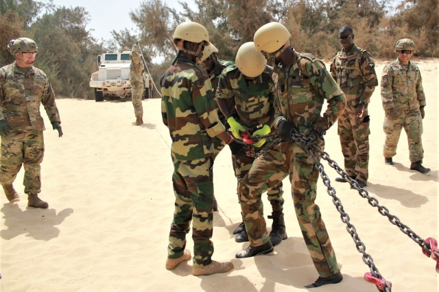 Advisers from Logistics Advisor Team 1610, 1st, SFAB, and soldiers from the Senegal Armed Forces work side by side during vehicle recovery training March 12, 2020, in Dakar, Senegal. LAT 1610 is conducting training on preventative vehicle maintenance and vehicle recovery to their military partners in Senegal.