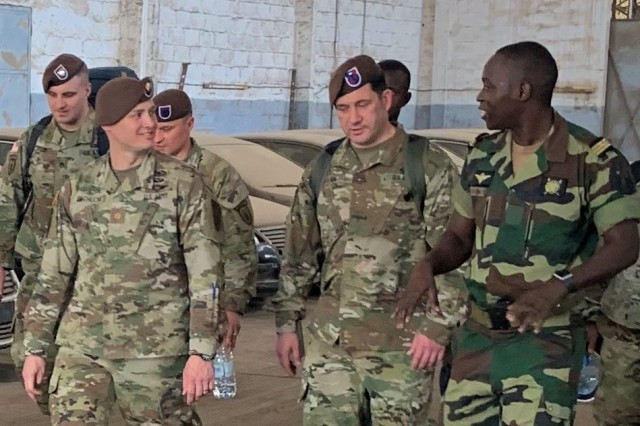 Members of the Senegalese Armed Forces show Logistics Advisor Team 1610, 1st Security Force Assistance Brigade, their maintenance workshop on March 2, 2020 in Dakar, Senegal. This is the first-ever SFAB to provide U.S. Africa Command (AFRICOM) with teams of expertly trained Advisors to help African partners build capacity and readiness.