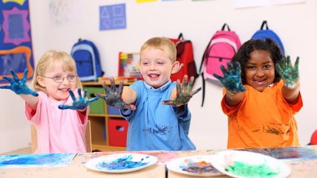 Children at a CYS facility having fun.