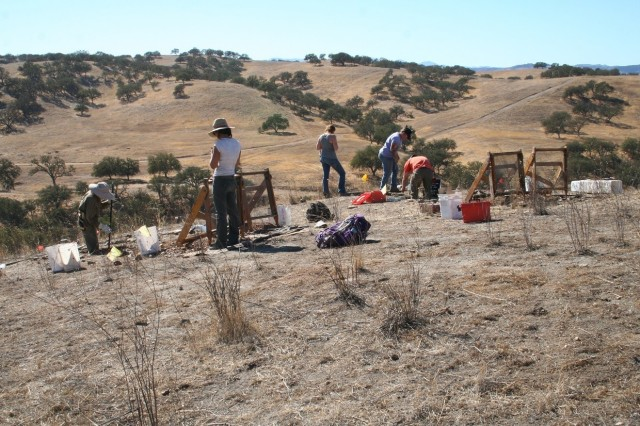 California Army National Guard and consultant staff conduct test excavations at Native American archaeological site CA-SLO-2780.