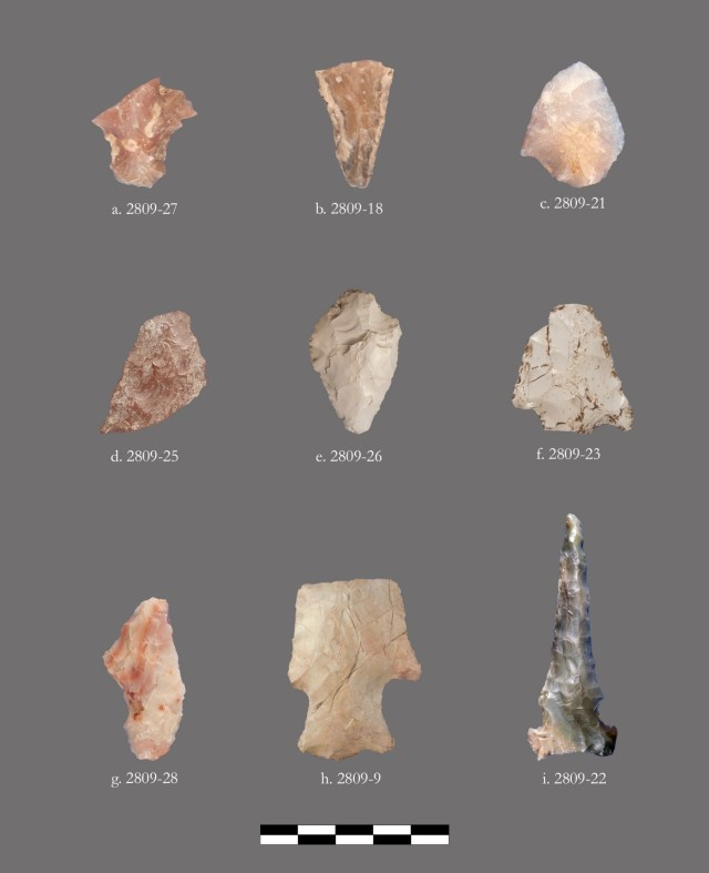 A rich artifact assemblage, including projectile points and a drill (lower right), were recovered during test excavations at Native American site CA-SLO-2809.
