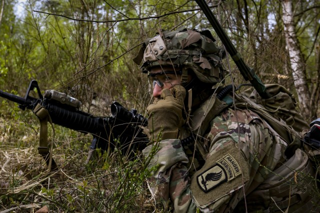 Cpl. Dominic Sierra, a U.S. paratrooper assigned to Bulldog Troop, 1st Squadron, 91st Cavalry Regiment, 173rd Airborne Brigade, watches for opposing forces during a field exercise on Grafenwoehr Training Area, Germany, April 24, 2020. The 173rd Airborne Brigade is the U.S. Army's contingency response force in Europe and routinely trains alongside NATO partners and allies. (U.S. Army photo by Spc. Zack Stahlberg)