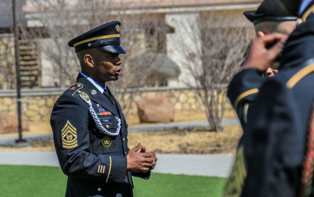 Command Sgt. Maj. Tony T. Towns, senior enlisted advisor with 1st Armored Brigade Combat Team, 1st Armored Division, addresses senior noncommissioned officers before visiting the Ambrosio Guillen Texas State Veterans Home at Fort Bliss, Texas, March 5, 2020. Towns' experience with the Ready First Brigade's conversion from Stryker to Armored and the different armored units he served with, contributed to his selection as the next U.S. Army Armor School senior enlisted advisor. (U.S. Army photo by Staff Sgt. Kris Bonet)