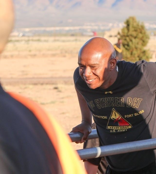 Command Sgt. Maj. Tony T. Towns, senior enlisted advisor with 1st Stryker Brigade Combat Team, 1st Armored Division, conducts physical training with Soldiers at Fort Bliss, Texas, April 18, 2019. Towns' experience with the Ready First Brigade's conversion from Stryker to Armored and the different armored units he served with, contributed to his selection as the next U.S. Army Armor School senior enlisted advisor.