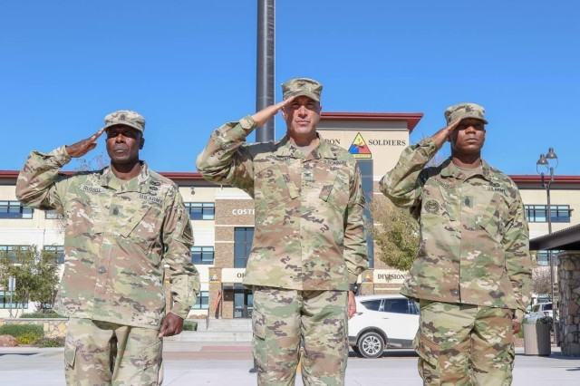Soldiers from the 1st Stryker Brigade, 1st Armored Division, bids farewell to outgoing Command Sgt. Maj. Eugene Russell, and welcomes incoming Command Sgt. Maj. Tony Towns into the Ready First family during a change of responsibility ceremony at Fort Bliss, Texas, Nov. 2, 2018. Towns' experience with the Ready First Brigade's conversion from Stryker to Armored and the different armored units he served with, contributed to his selection as the next U.S. Army Armor School senior enlisted advisor.