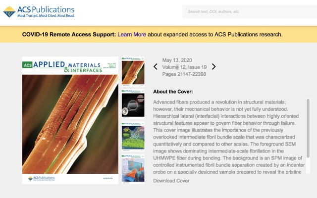 A peer-reviewed paper looking at high-performance fibers makes the cover for the latest American Chemical Society publication: Applied Materials & Interfaces, May 13, 2020, Vol. 12, Issue 19.