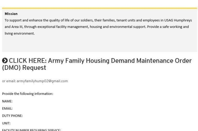 Housing Work Order submission now online