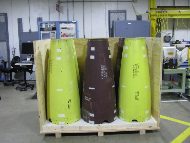Warhead skins salvaged, packed and ready to ship.