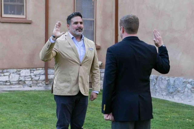 The Honorable Ryan D. McCarthy, Secretary of the Army, appoints Ben Coronado, a resident of Oro Valley, Arizona, as a new Civilian Aide to the Secretary of the Army during an investiture ceremony on May 14, 2020, at Fort Huachuca.