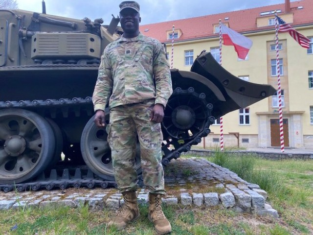 Capt. Daniel Edomwandagbon, with the 418th contracting brigade, 901st contracting battalion, with Army Contracting Command, (ACC) provides support for the 2nd Armored Brigade Combat Team, 1st Cavalry Division of Fort Hood, Tx during their current deployment in support of Atlantic Resolve on May 4, 2020. (Louisiana Army National Guard photo by Staff Sgt. Greg Stevens)