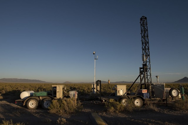 Some systems comprising the CENTAUR, in the field, during the 2019 test. An instrumentation tower supports the test, while a combination of CENTAUR detection, monitoring and communication equipment is challenged with simulated chemical biological or radiological (CBR) threats. The CENTAUR system was also tested by Soldiers challenged by real-world scenarios, requiring them to make real-time decisions based on what CENTAUR provided. Photo by Mario Sandoval, DPG Optics