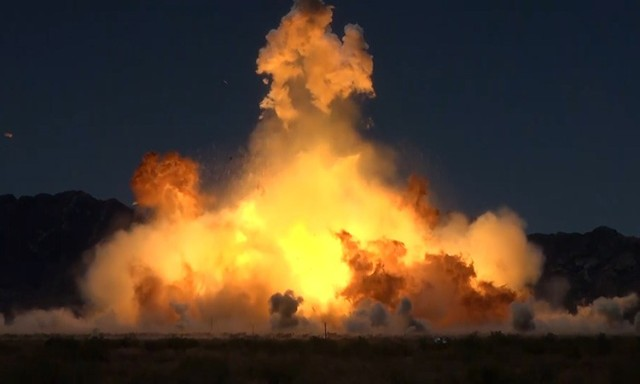 A new rocket fuel, composed of natural gas and liquid oxygen, undergoing testing at Dugway Proving Ground, Utah.  Testers are purposely igniting replicated rockets during a simulated ground launch, to learn its explosive qualities.