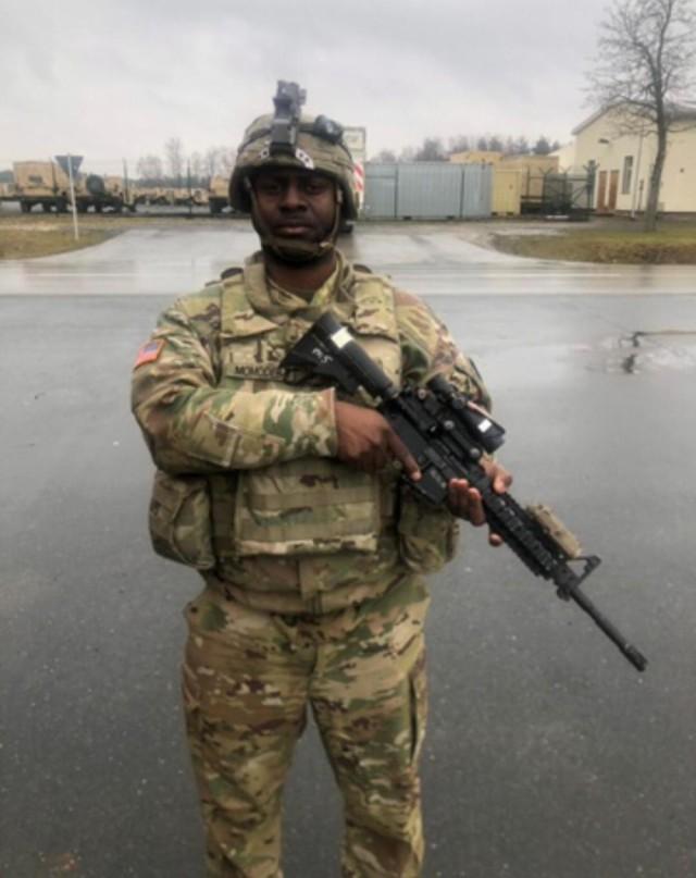 Spc. Davidson Momodebe, with the 2nd Armored Brigade Combat Team, 1st Cavalry Division from Fort Hood, TX during the Combined Resolve XIII exercise in Hohenfels, Germany on January 31, 2020. (Louisiana Army National Guard photo by Staff Sgt. Greg Stevens)