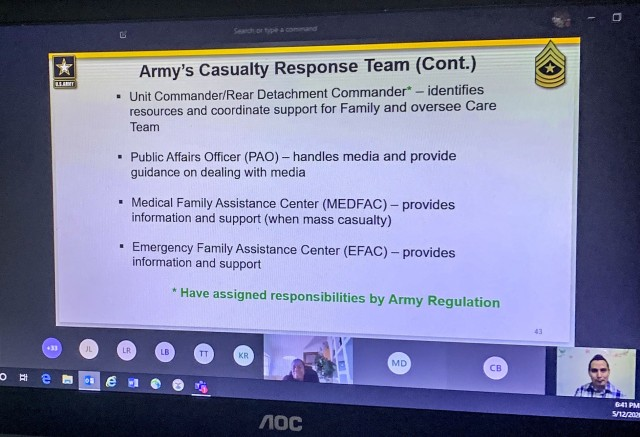 Participants of the Spouse Leadership Development Course through Distance Learning receive a brief from Zenon Molina from Army Community Services on the roles within the Army's Casualty Response Team (CARE Team), May 12. Picture provided by the NCOLCoE Commandant, Command Sgt. Maj. Jimmy Sellers.