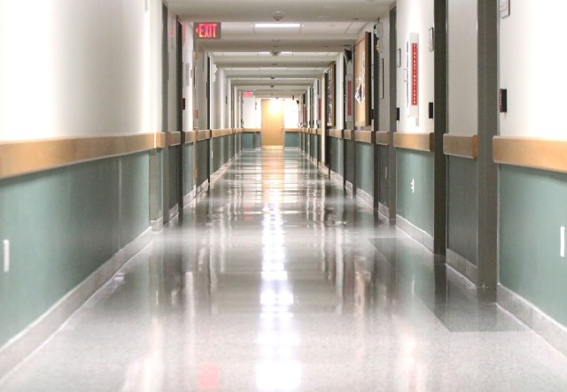 Nine barracks, including Eisenhower Barracks shown here, were power washed, sanitized and disinfected in the restroom areas. The hallways (above) and stairwells were cleaned as the floors were stripped and waxed by the Directorate of Public Works' custodial crew.