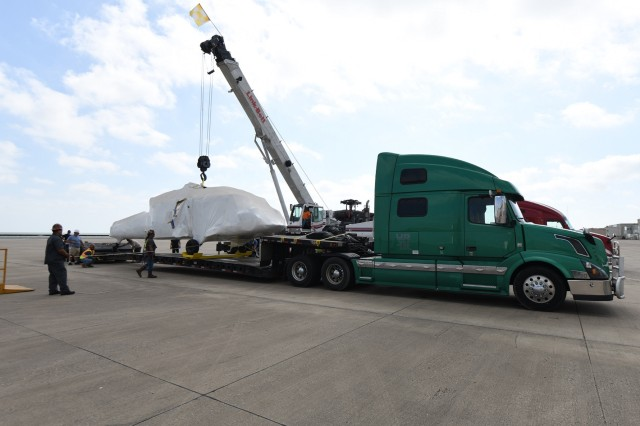 A UH-60L fuselage and operational helicopter were transported from Corpus Christi Army Depot to Wichita State University where researchers at the National Institute of Aviation Research (NIAR) will create a virtual model of the work horse of Army aviation. U.S. Army photo by Ervey Martinez.