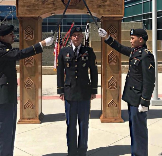 Sgt. 1st Class Shannon Newsome, 502nd Dental Company Area Support, participates in a Noncommissioned Officer Induction Ceremony.  Newsome was awarded the NCO Award of Excellence for fiscal year 2020 by the Army Dental Corps May 12. (Courtesy photo)