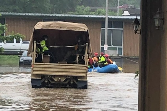 Virginia Guard Red Dragons evacuate flood victims in Roanoke