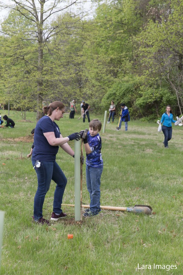 Dozens of volunteers turn out to plant native pines and hardwood saplings next to the National Guard building on Fort Belvoir. This will create a wildlife corridor connecting Accotink Bay Wildlife Refuge and and Jackson Miles Abbott Wetlands.