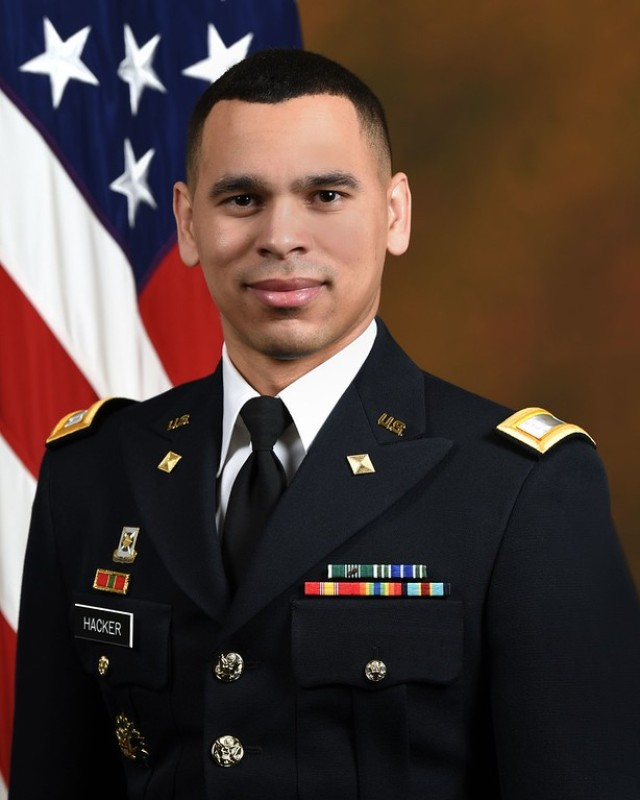U.S. Army Capt. Gregory Hacker poses for his official portrait in the Army portrait studio at the Pentagon in Arlington, Va., Mar. 3, 2020.  (U.S. Army photo by Monica King)