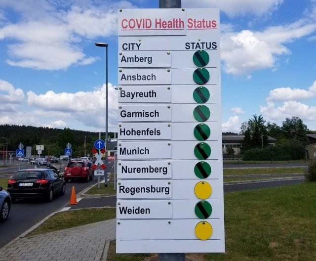 COVID-19 Health Status Sign outside Gate 3 Grafenwoehr