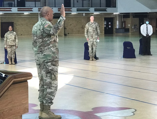 U.S. Army Lt. Gen. Leslie C. Smith, The Inspector General, swears in graduates of the Morgan State University Army ROTC program as Army 2nd Lieutenants at the Fifth Regiment Armory in Baltimore May 15, 2020. (U.S. Army photo by Maj. French Pope)