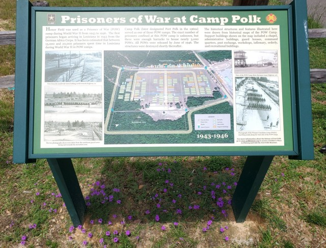 Pictured is a map, located near the Honor Field parking lot, of the Prisoner of War camp located on the site of Honor Field during World War II at Camp Polk.