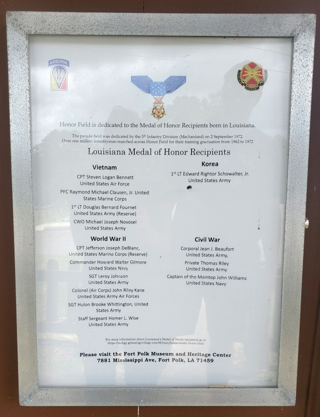 An Honor Field dedication to Louisiana Medal of Honor Recipients. The parade field was dedicated on Sept. 2, 1972 by the 5th Infantry Division.