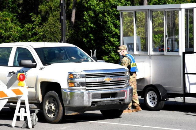 A Fort Polk military police officer at the safety bubble located on Entrance Road near the fire station.