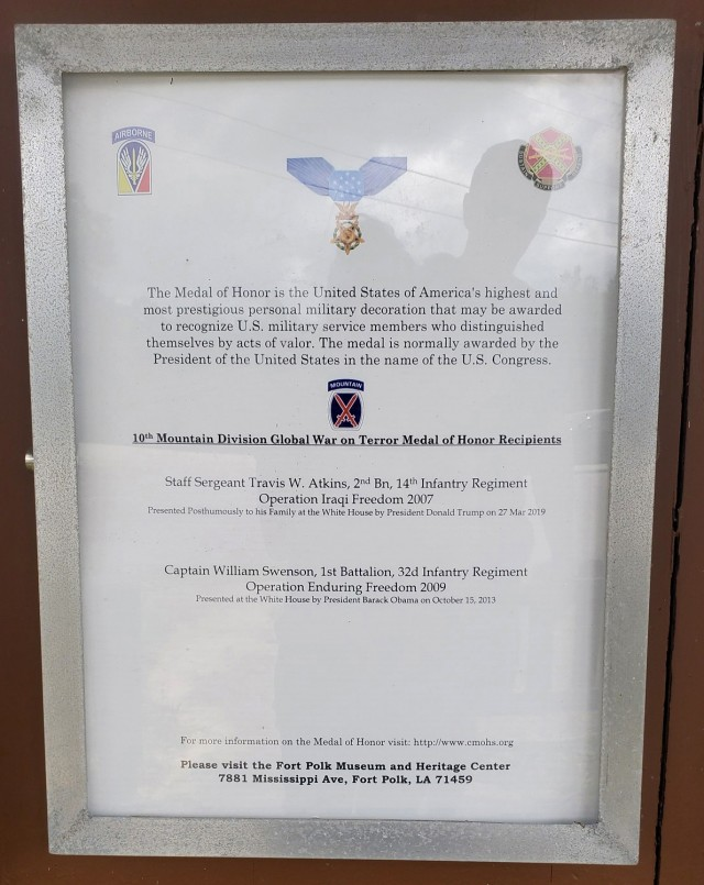 A list of Medal of Honor recipients found in Honor Field's memorial gazebo.