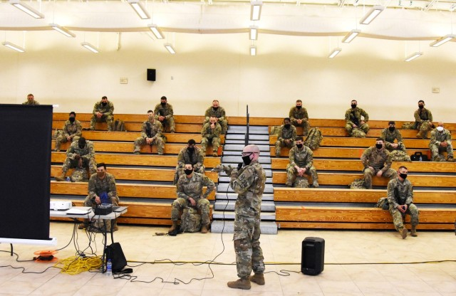 A briefing for 4th SFAB took place May 26, while observing social-distancing and face-covering guidelines.