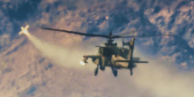The SPIKE Non-Line of Sight missile moments after leaving a U.S. Apache helicopter and heading toward its designed target.