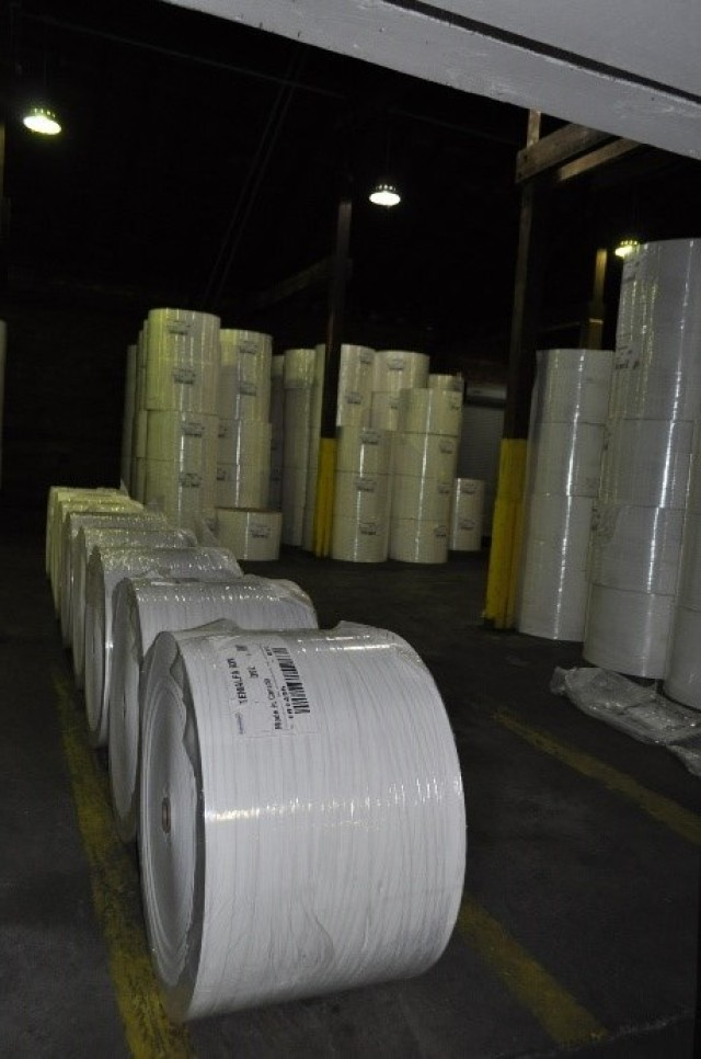 Warehouse with pulp rolls.
