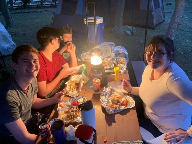 Amy Matelski, right, camps with her sons, from front to back, Timothy, Zachary and Joshua at Sagami General Depot, Japan, during Memorial Day weekend in May. Photo by Col. Thomas Matelski, U.S. Army Garrison Japan