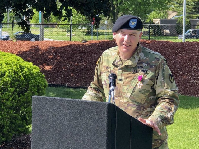 Col. Jeffrey Witt, Chief of Staff for Tank-automotive and Armaments Command, bids a farewell to a small gathering of the TACOM staff during his retirement ceremony at the Detroit Arsenal June 5.  The small ceremony was held outside to ensure social distancing during the Coronavirus Disease 2019 pandemic.