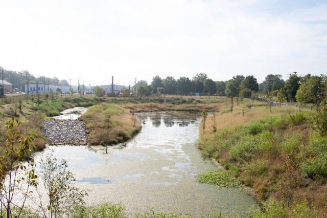 The new regional stormwater pond that was brought online in early 2018 modernizes stormwater infrastructure in Fort Belvoir's historic district. The Level 2 Extended Detention Pond manages a volume of stormwater runoff from a 100-year storm.  The pond has reduced nutrient and sediment loads from the area and has reduced the velocity, volume, and pollution discharged to Accotink Creek after rain events.