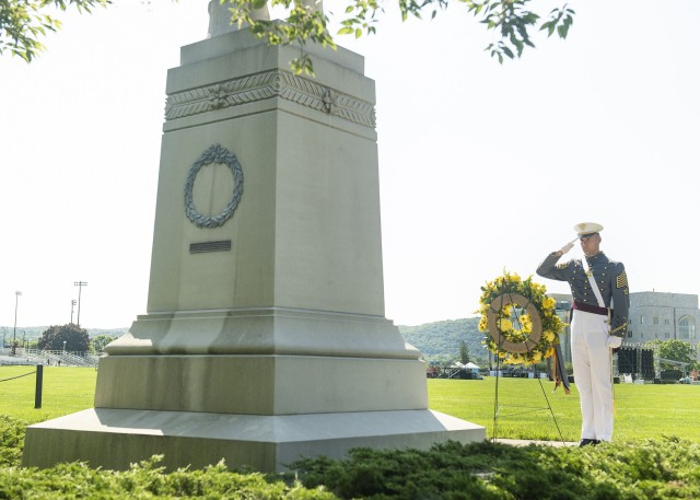 A wreath was placed at the base of Col. Sylvanus Thayer's statue by First Captain Daine Van de Wall with Superintendent Lt. Gen. Darryl A. Williams, West Point Command Sgt. Maj. Jack Love, West Point Association of Graduates President and CEO Todd Browne in attendance during the Alumni Wreath Laying ceremony Tuesday on the Plain.