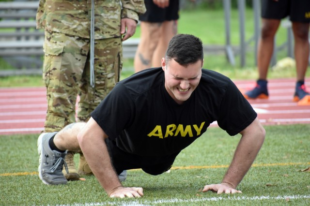 A Soldier works on one more pushup while competing in the U.S. Army Japan 2020 Army Week's Army Combat Fitness Test Fitness Warrior Competition at Camp Zama, Japan, June 8.