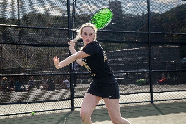 Class of 2022 Cadet Sam DiMaio plays on the tennis team at West Point. She originally wanted to branch finance or signal, but now only has combat arms branches in her top five.