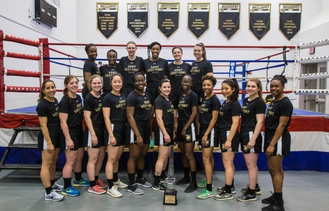 Class of 2020 Cadet Amir Mohamed, far left above, joined the women's boxing team as a plebe in 2016 and fought on the team for three years. The team existed before then, but the addition of a boxing class for female cadets that year allowed the team to find a foothold and become established. Since 2016, the team has won two National Collegiate Boxing Association team titles along with eight individual national championships.