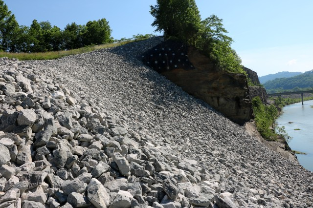 This is the completed Loyall Slide Repair Project above the Cumberland River diversion channel in Loyall, Kentucky June 3, 2020. The U.S. Army Corps of Engineers Nashville District managed the project. (USACE photo)